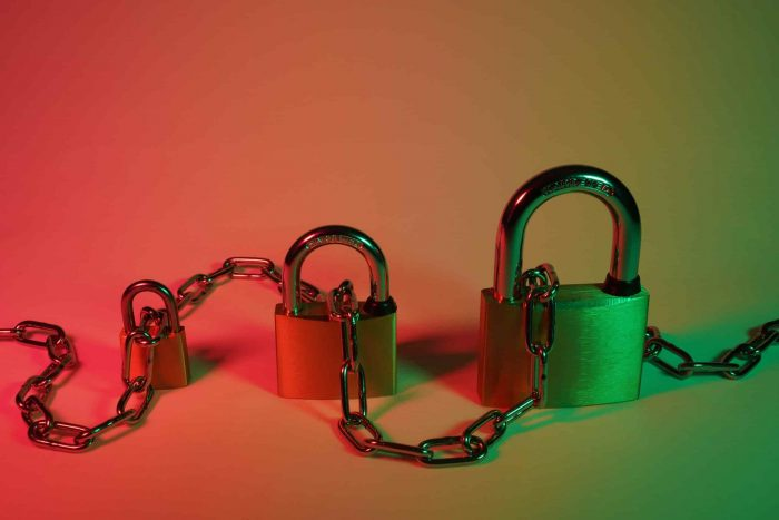 benefits of privileged access management; three small, medium and large locks chained together